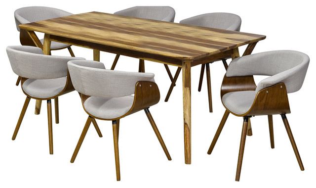 7 Piece Solid Sheesham Wood Dining Table Set