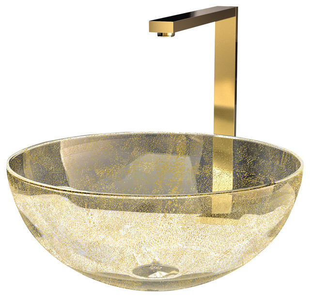 Bathroom Sinks Glass laguna calla glass vessel sink, gold - eclectic - bathroom sinks