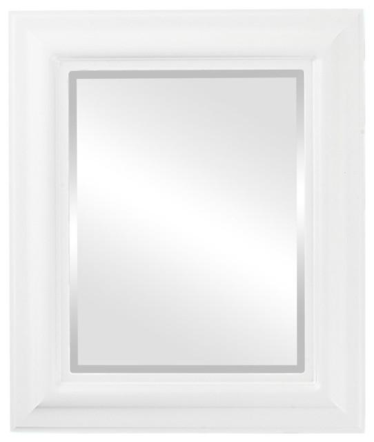 Lancaster Framed Rectangle Mirror In Linen White, 29x35.