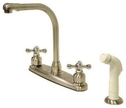 High Arch Kitchen Faucet With White Sprayer