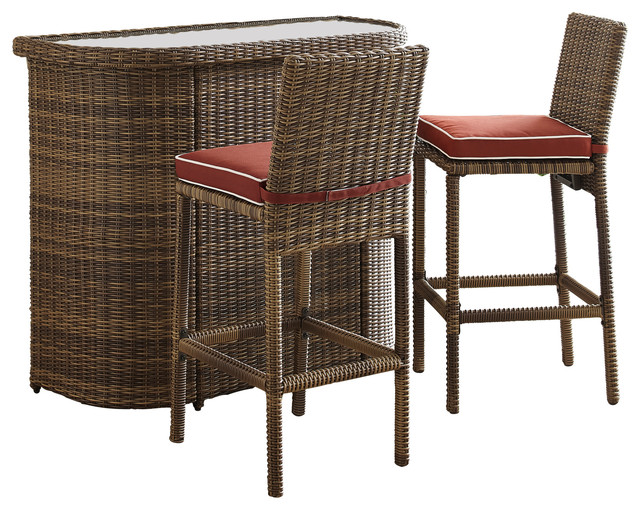 Bradenton 3-Piece Outdoor Wicker Bar Set, Bar And 2-Stools