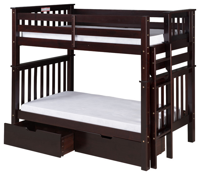 Santa Fe Mission Tall Bunk Bed Twin Over Twin Bed End