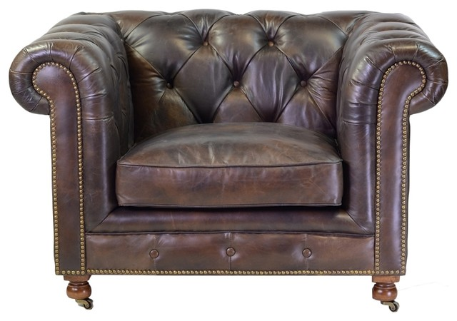 Chesterfield Style Arm Chair Genuine Antique Leather