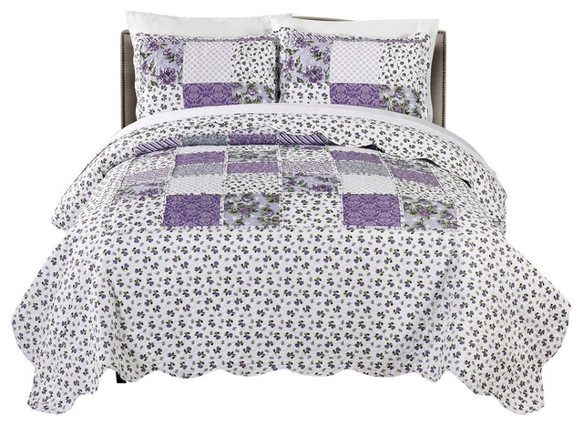 Mhf Home Brenna 3 Piece Reversible Floral Patchwork Quilt Set Farmhouse Quilts And Quilt Sets By Morgan Home
