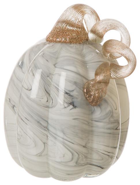 "Gray Marble Tall Glass Pumpkin 5.71""H"