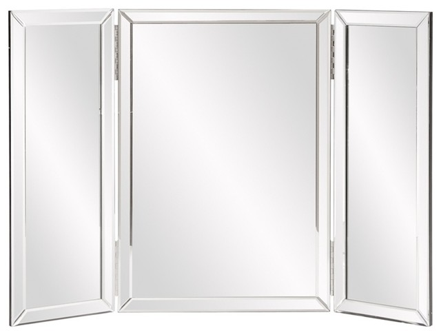 Tri Fold Wall Mirror tripoli trifold vanity mirror - contemporary - wall mirrors -