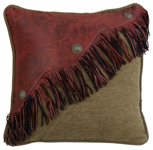 Diagonal Red Faux Leather Design With Fringe And Concho.