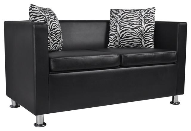 vidaXL Sofa 2-Seater Black Artificial Leather Living Room Furniture w/ Pillows