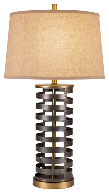 """Foster 28.5"""" 3-Way Two Tone Dark Bronze Cylinder Metal Table Lamp, Bulb."""