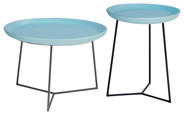 Kate Modern Round Blue Ceramic Top Metal Outdoor Side End Table