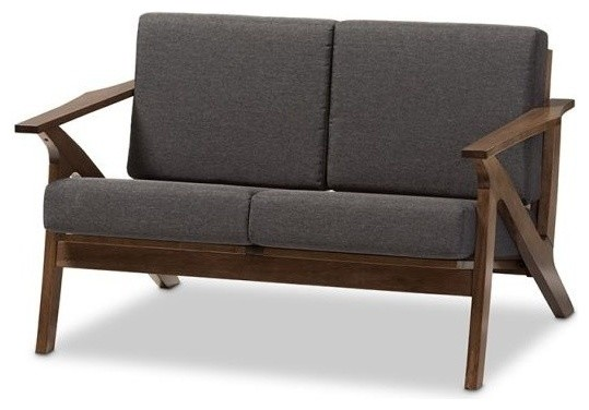 Gray Fabric And Walnut Brown Wood Living Room 2-Seater Loveseat Settee.