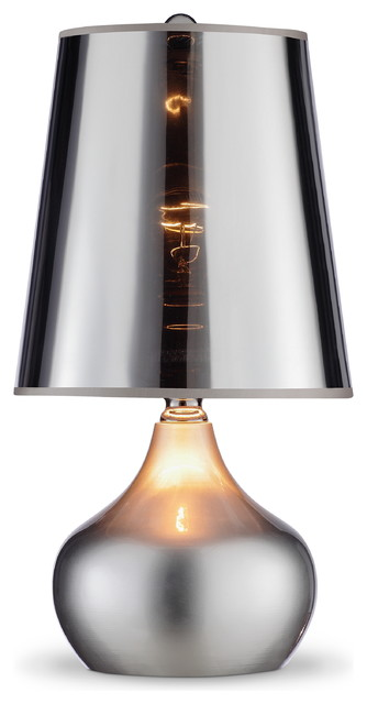 18 Tall Metal Er Table Lamp Silver Finish Transpa Shade Contemporary