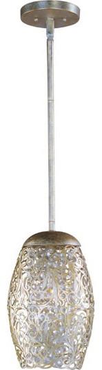 Arabesque 1-Light Mini Pendant, Golden Silver.