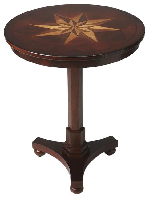 Dark Cherry Round Pedestal Table On Bun Feet Traditional Coffee Tables By Interior Clue