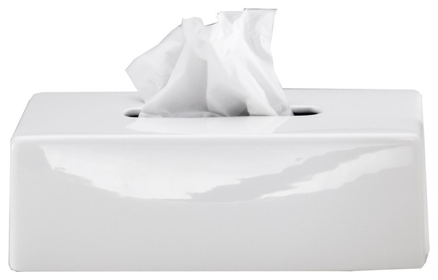 Tissue Box Holder Cover, Ceramic by DWBA Bath Collection