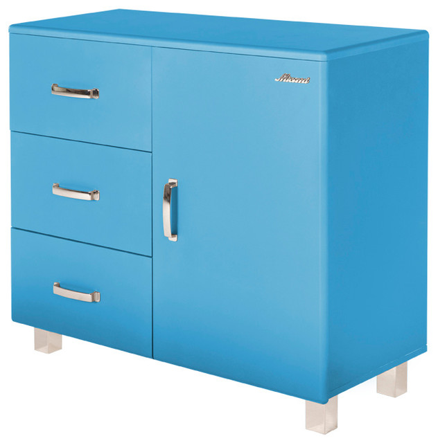 Miami Commode With 1 Door And 3 Drawers Blue Car Metallic Lacquer