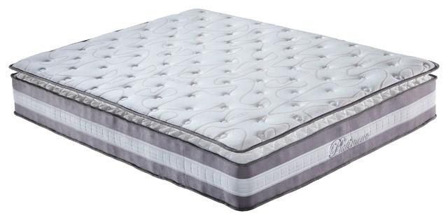 "13"" Plush Pillow Top Hybrid Memory Foam And Spring Mattress, Queen."