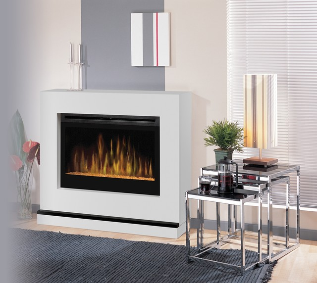 Atlantis White Wall or Corner Electric Fireplace with Glass Embers ...