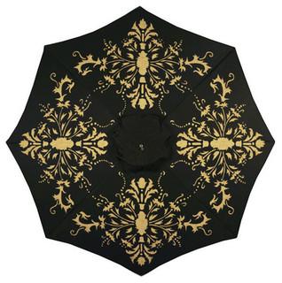 Florence Hand-Painted Patio Umbrella, Black