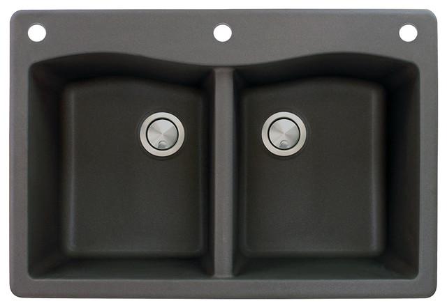 33-In X 22-In Drop-In Aversa Granite Kitchen Sink In Black.