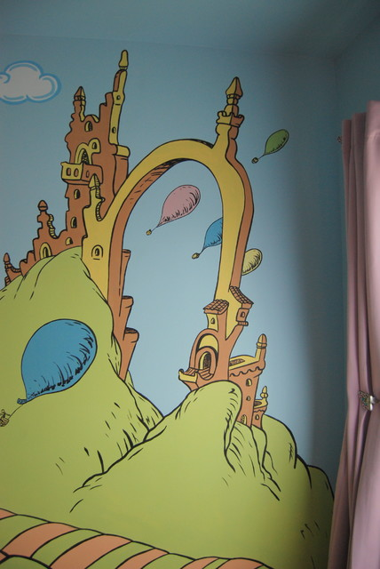 Oh the places you 39 ll go dr seuss mural throughout a for Dr seuss mural