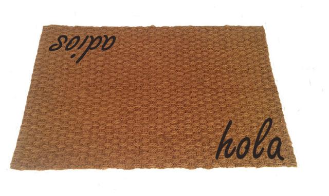 Hola, Adios Coir Doormat, Black, 19x31.