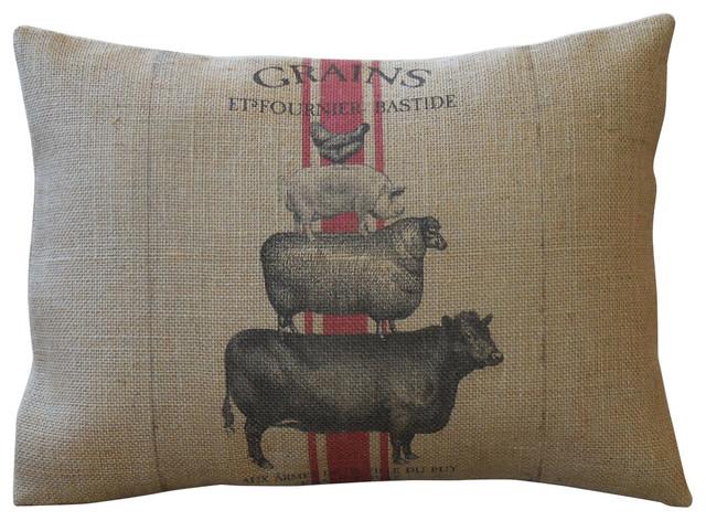 """Animal Stack Burlap Pillow, 12""""x16""""."""
