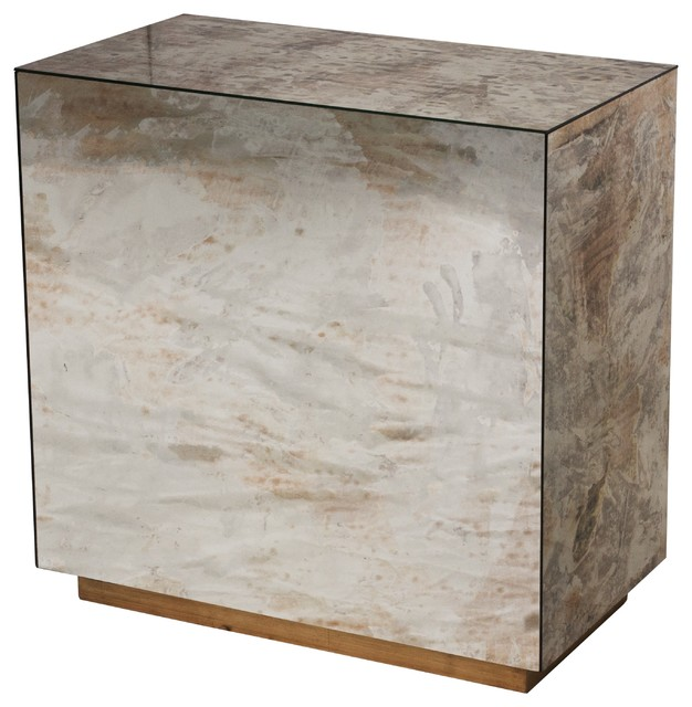 Worlds Away Reverse Mirror Side Table With Gold Leaf Base CUBO SIDE G  Contemporary Side