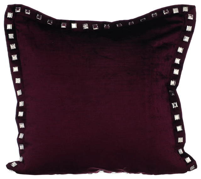 """Handmade Plum Cushion Cover Solid Color Bead Cord Throw Pillows Cover 14/""""x14/"""""""