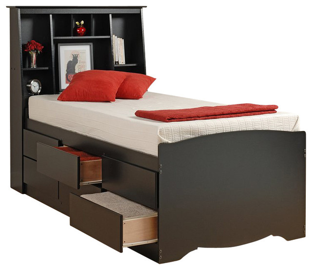 Prepac Black Sonoma Tall Bookcase Platform Storage Bed Kids Beds By Homesquare