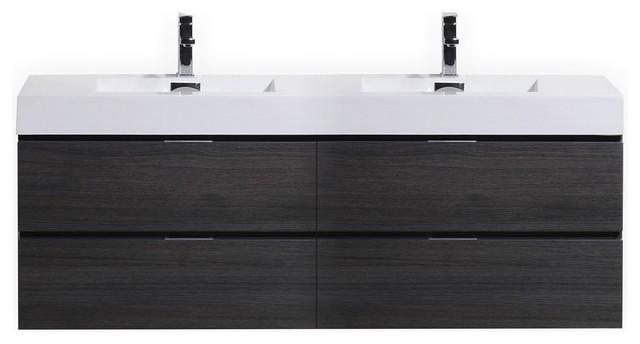 """Bliss 80"""" Gray Oak Wall Mount Double Sink Modern Bathroom Vanity."""