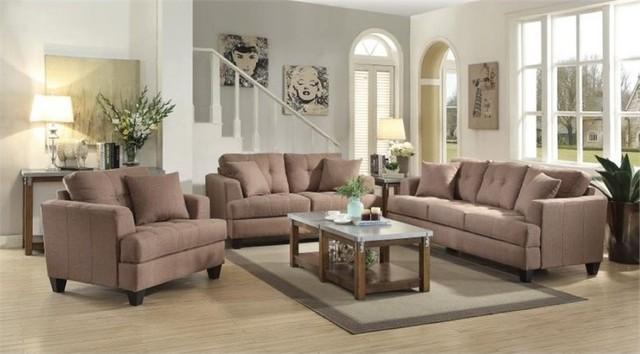 coaster samuel 3piece sofa set light mocha