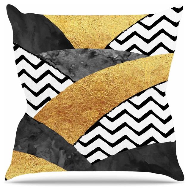 Zara Martina Mansen Chevron Hills Gold Black White Throw Pillow