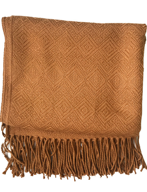 Handmade Alpaca Throw Blanket, Brown, Hypoallergenic.