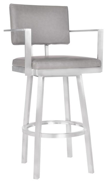 Balboa 30 Bar Height Barstool Arms Brushed Stainless Steel Gray Faux Leather