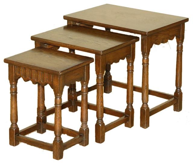 Consigned Set Of 3 Vintage Oak Nesting Tables