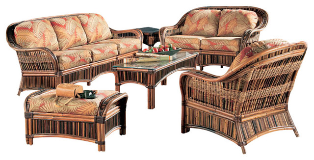 Congo 6-Piece Living Room Furniture Set In Brown, Set Sail Fabric.