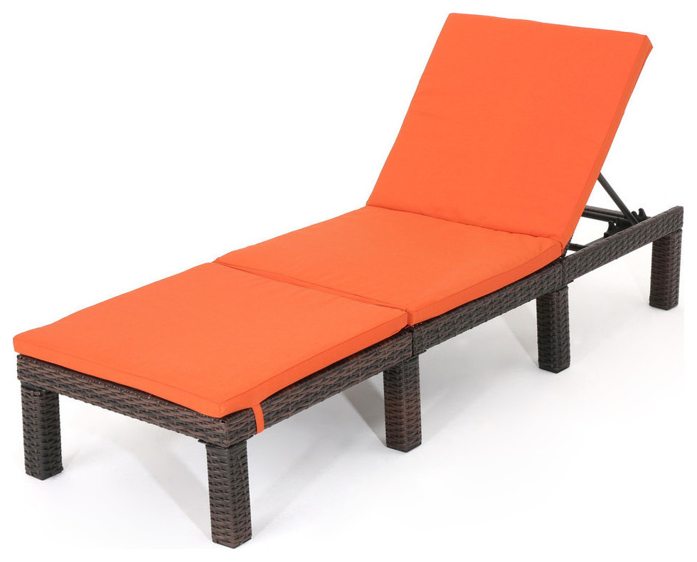 Gdf Studio Joyce Outdoor Wicker Chaise Lounge With Cushion Tropical Outdoor Chaise Lounges By Gdfstudio