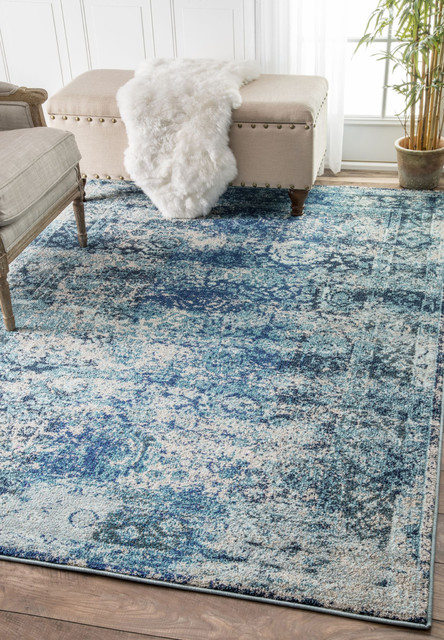 Traditional Vintage Bohemian Color Washed Floral Rug, Ocean Blue, 2&x27;6x8&x27;.