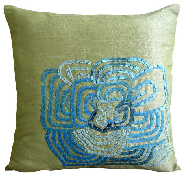 """Green Multicolor Sequins Flower 14""""x14"""" Silk Pillow Covers, Turquoise Bloom"""