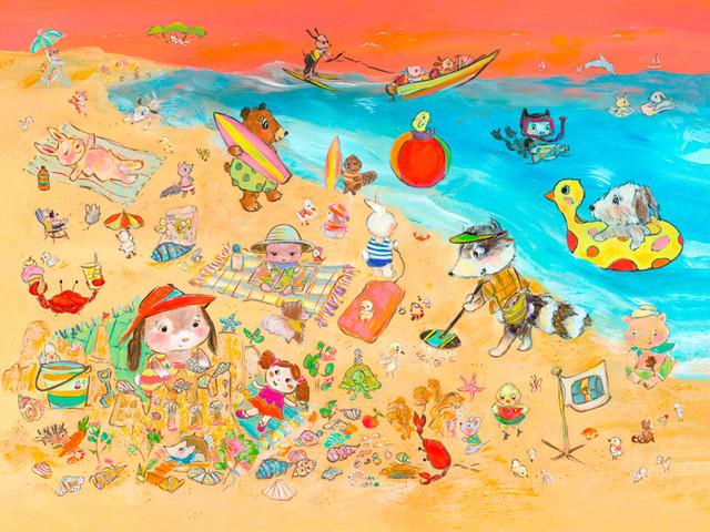 Animals On The Shore, Canvas Wall Art, 24x18 - Beach Style - Fine ...
