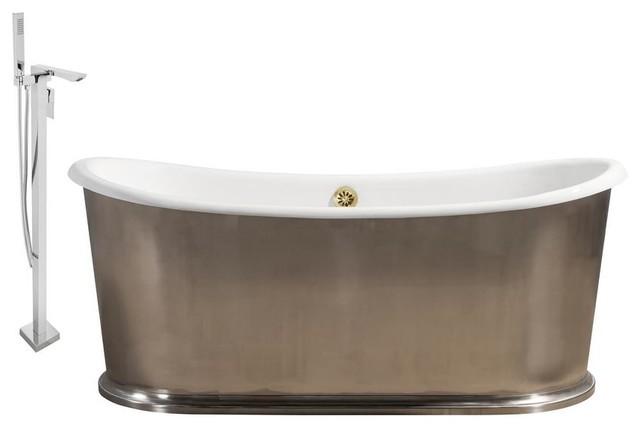 "Streamline 72"" Faucet And Cast Iron Tub Set, Showerhead H-140."