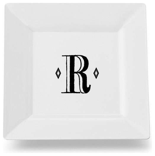 Letter R Initial Monogram Retro Square Ceramic Platter/Plate  sc 1 st  Houzz & Letter R Initial Monogram Retro Square Ceramic Platter/Plate ...