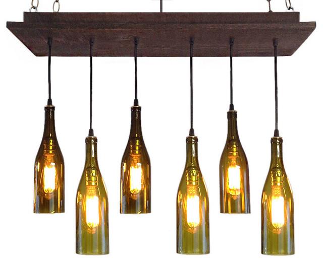 Rustic wine bottle chandelier contemporary chandeliers for How to make a bottle chandelier
