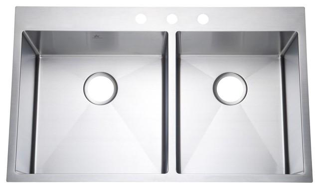 "Starstar 36"" Top Mount/ Drop-In Double Bowl Stainless Steel Kitchen Sink, 60/40."