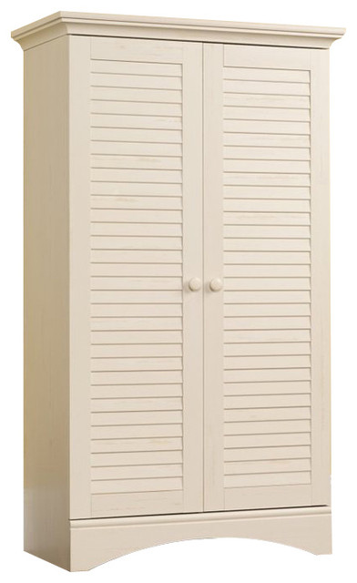 Sauder Harbor View Storage Cabinet in Antiqued White - Dressers - by Homesquare