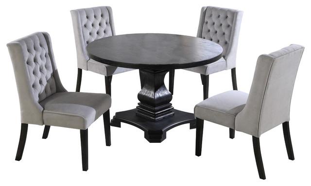 Black Round 5 Pieces Grey Dinette Set
