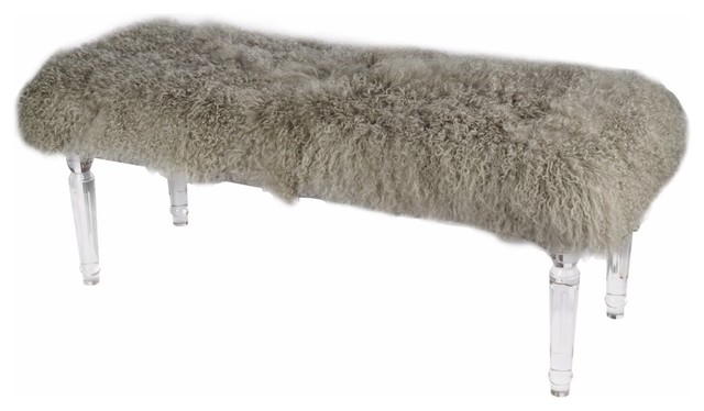 Soft To Touch Gray Mongolian Fur Bench.