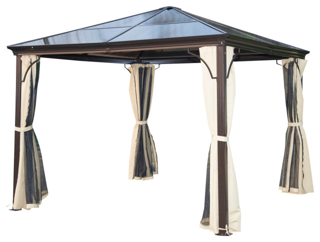 Outsunny 10 X10 Aluminum Hardtop Backyard Gazebo With Side Curtains Brown Transitional Gazebos By Aosom