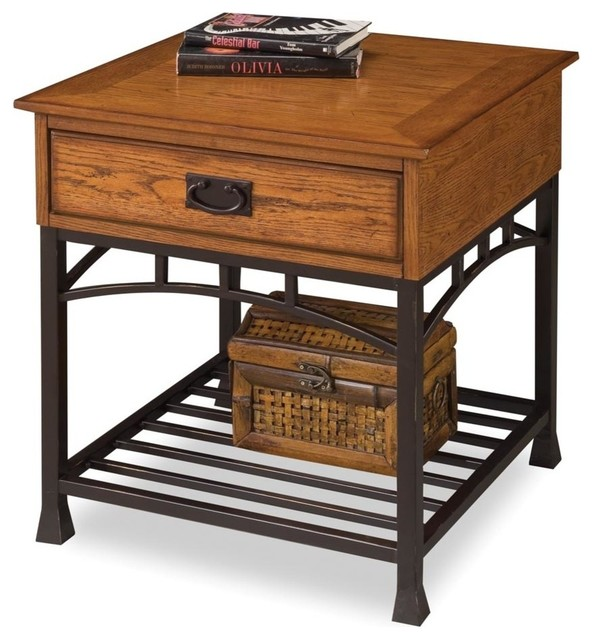 Modern Craftsman End Table, Distressed Oak Industrial Side Tables And End